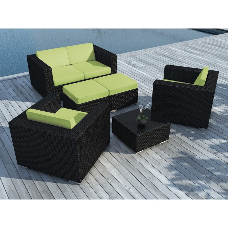 salon de jardin en r sine tress e portofino vert noir. Black Bedroom Furniture Sets. Home Design Ideas