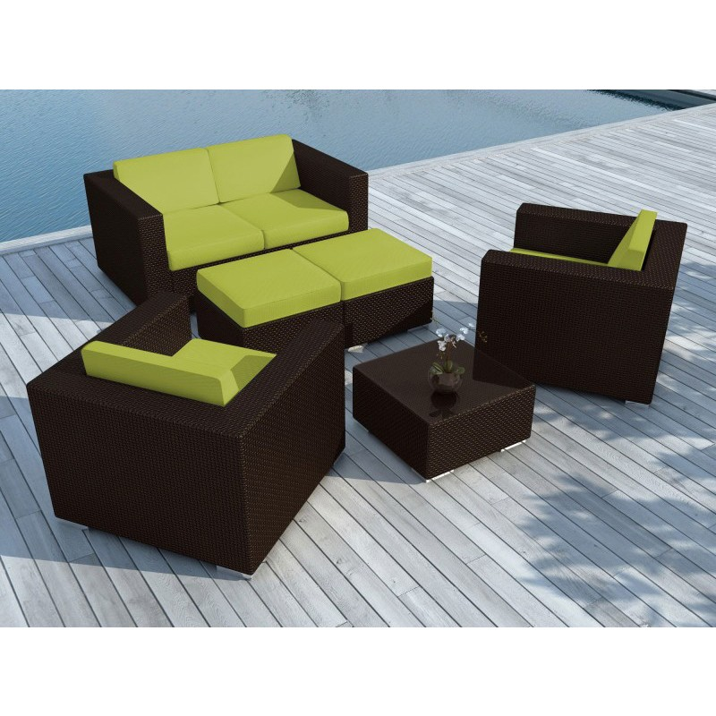 salon de jardin en r sine tress e portofino vert marron. Black Bedroom Furniture Sets. Home Design Ideas