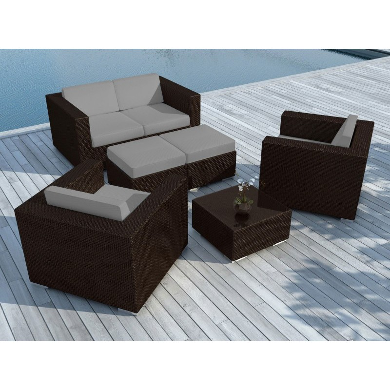 salon de jardin en r sine tress e portofino gris marron. Black Bedroom Furniture Sets. Home Design Ideas