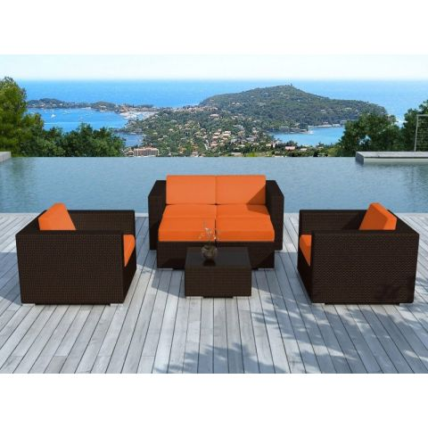 "Salon de Jardin en Résine Tressé ""Portofino"" Orange & Marron"