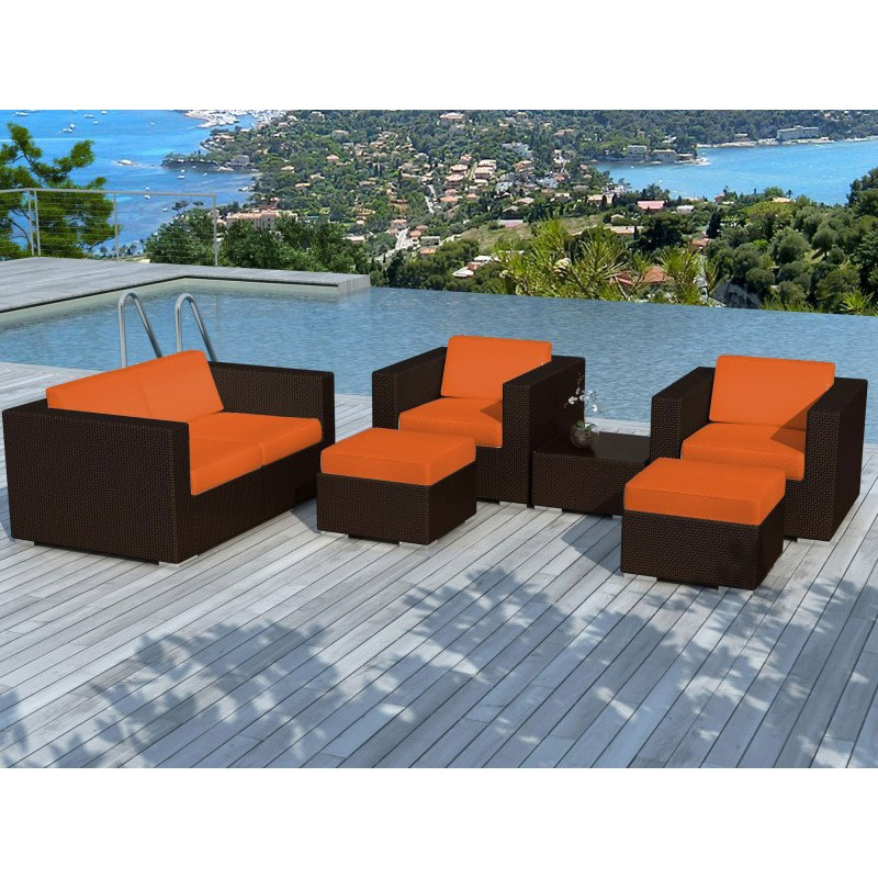 salon de jardin en r sine tress portofino orange marron. Black Bedroom Furniture Sets. Home Design Ideas