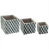 "Lot de 3 Cache-Pots Ciment ""Collect"" 14cm Bleu"