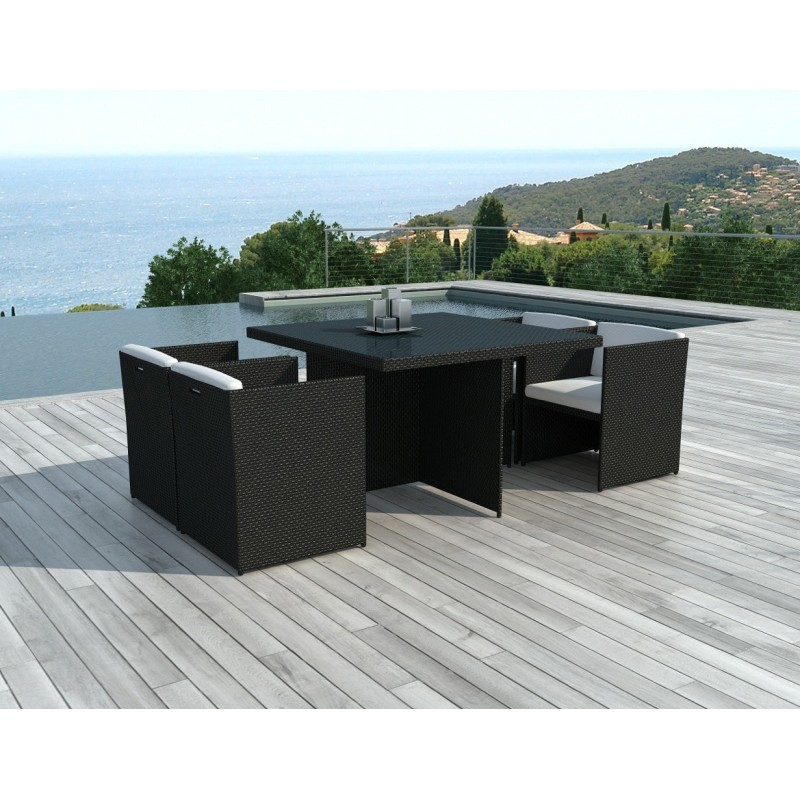 table chaises de jardin en r sine brescia noir. Black Bedroom Furniture Sets. Home Design Ideas