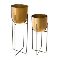 "Lot de 2 Cache-Pots en Métal ""Support"" 42cm Or"