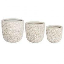 "Lot de 3 Pots en Céramique ""Strate"" 42cm Sable"