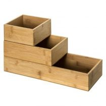"Lot de 3 Organiseurs Tiroirs ""Wood"" 38cm Naturel"