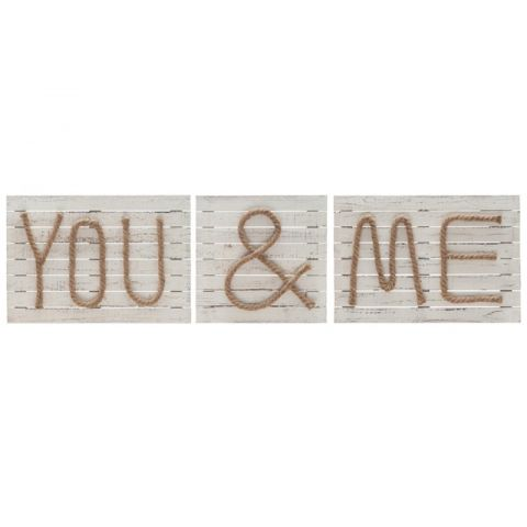 "Décoration Murale ""You and Me"" 59cm Naturel"