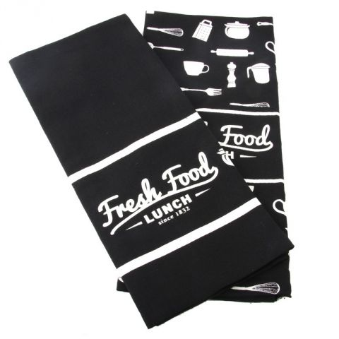 "Set de 2 Torchons ""Fresh Food Lunch"" Noir"