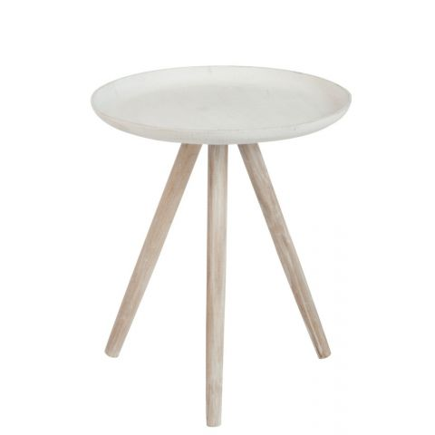 """Table d'Appoint Ronde """"Oriane"""" 50cm Blanc"""
