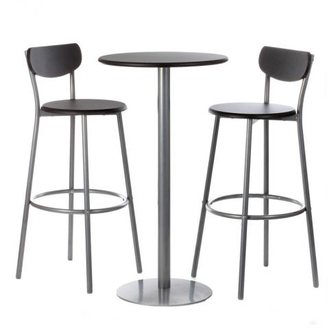 ensemble table chaises de bar thabo noir. Black Bedroom Furniture Sets. Home Design Ideas