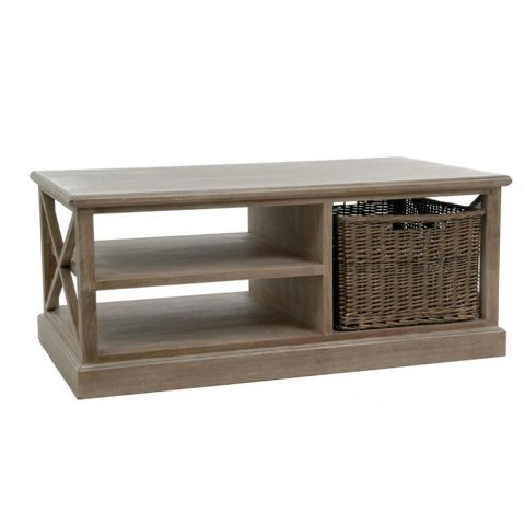 "Table Basse 1 Panier ""Catherine"" 120cm Naturel"