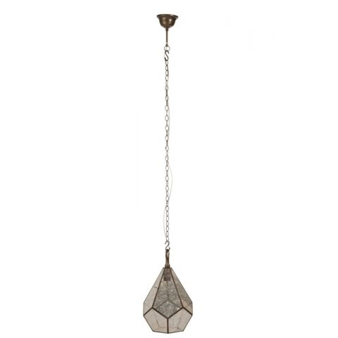"Lampe Suspension en Métal ""Jersy"" 155cm Or & Gris"