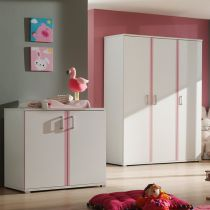 "Commode 2 Portes ""Valentine"" Blanc & Rose"