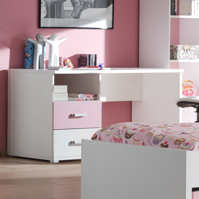 bureau enfant valentine blanc rose. Black Bedroom Furniture Sets. Home Design Ideas