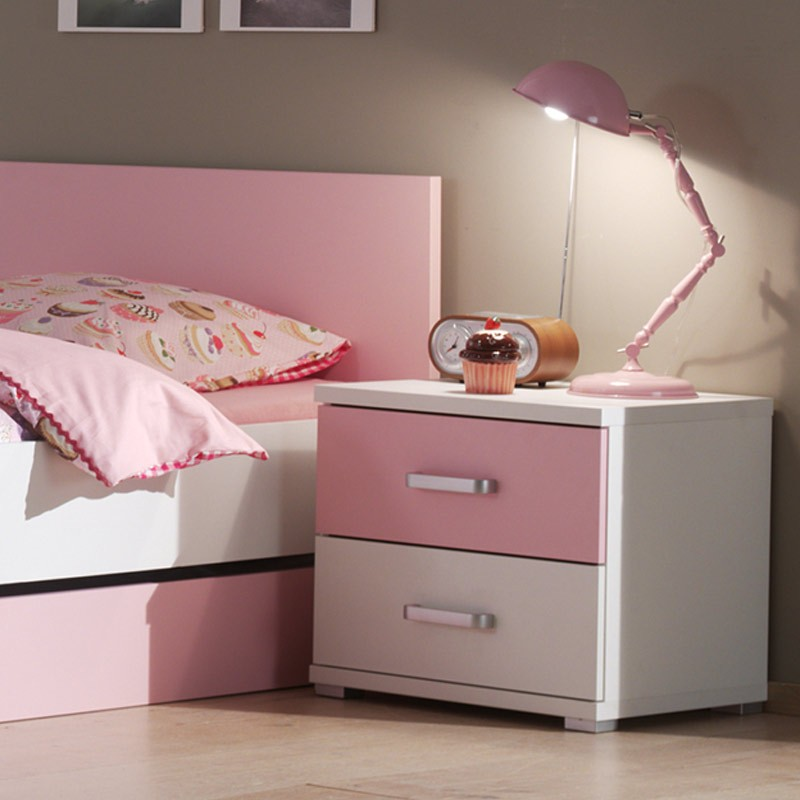chevet enfant valentine blanc rose. Black Bedroom Furniture Sets. Home Design Ideas