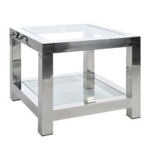 "Table d'Appoint Design ""Manhattan"" 60cm Argent"