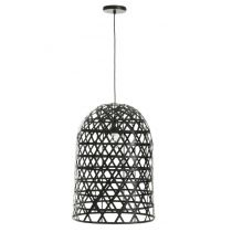 "Lampe Suspension en Bambou ""Briot"" 58cm Noir"