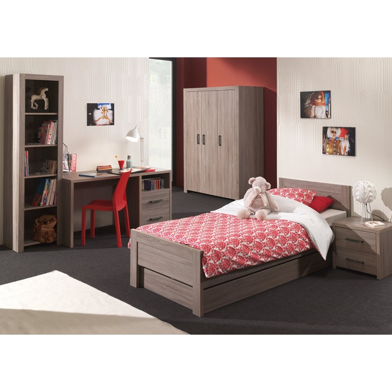 chambre compl te enfant 6p lucas marron. Black Bedroom Furniture Sets. Home Design Ideas