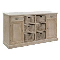"Buffet en Bois & 6 Paniers ""Catherine"" 158cm Naturel"