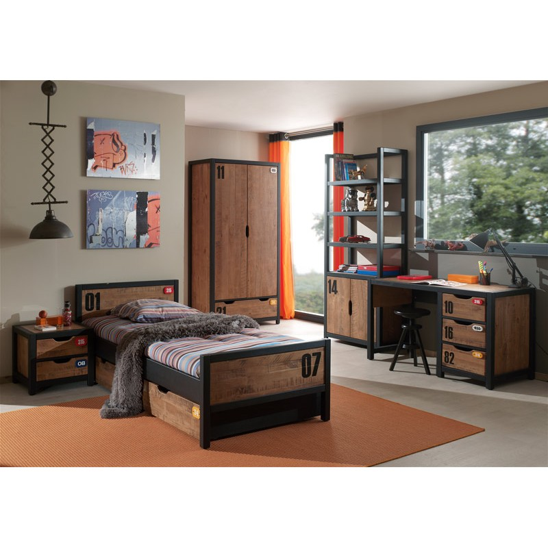 chambre compl te enfant 5p alex marron noir. Black Bedroom Furniture Sets. Home Design Ideas