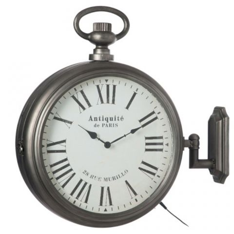 "Horloge Murale Led ""Antiquité de Paris"" 53cm Gris"