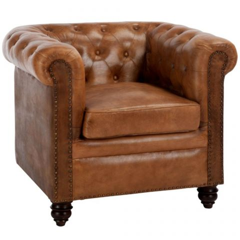 "Fauteuil Chesterfield en Cuir ""Sofa"" 84cm Marron"