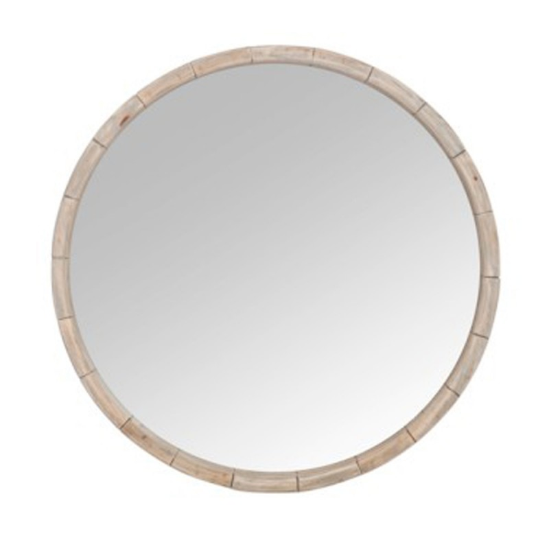 miroir mural rond wood 80cm naturel. Black Bedroom Furniture Sets. Home Design Ideas
