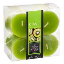 "Lot de 4 Bougies Votives Parfumées ""Glow"" 48g Kiwi"