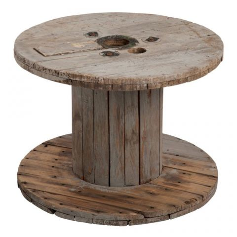 "Table d'Appoint en Bois ""Cable"" 63cm Naturel"