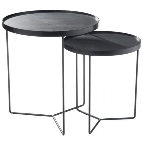 "Lot de 2 Tables d'Appoint Gigognes ""Malo"" 56cm Noir"