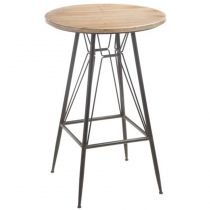 "Table de Bar en Métal & Bois ""Ina"" 99cm Naturel"