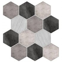 "Lot de 2 Stickers Carrelage ""Hexa"" 24x25cm Gris"