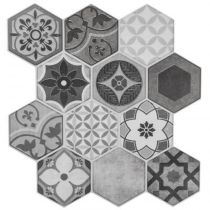 "Lot de 2 Stickers Carrelage à Motifs ""Hexa"" 24x24cm Gris"