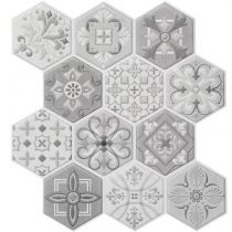"Lot de 2 Stickers Carrelage à Motifs ""Hexa"" 28x30cm Gris"