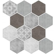 "Lot de 2 Stickers Carrelage ""Hexa"" 28x30cm Gris"