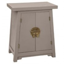 "Table de Chevet 2 Portes ""Baoji"" 55cm Taupe"