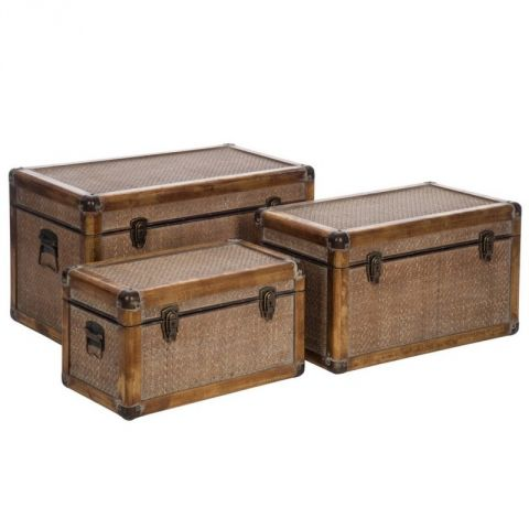 "Lot de 3 Malles Rectangulaires ""Ceylan"" 70cm Naturel"