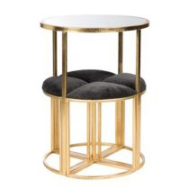 "Table de Bar & 4 Chaises ""Gatsby"" 81cm Or"