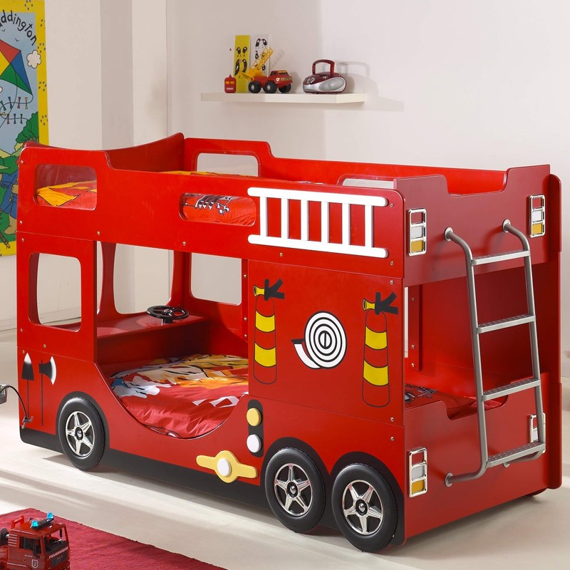 Lit superpos enfant pompier rouge - Lit superpose voiture ...