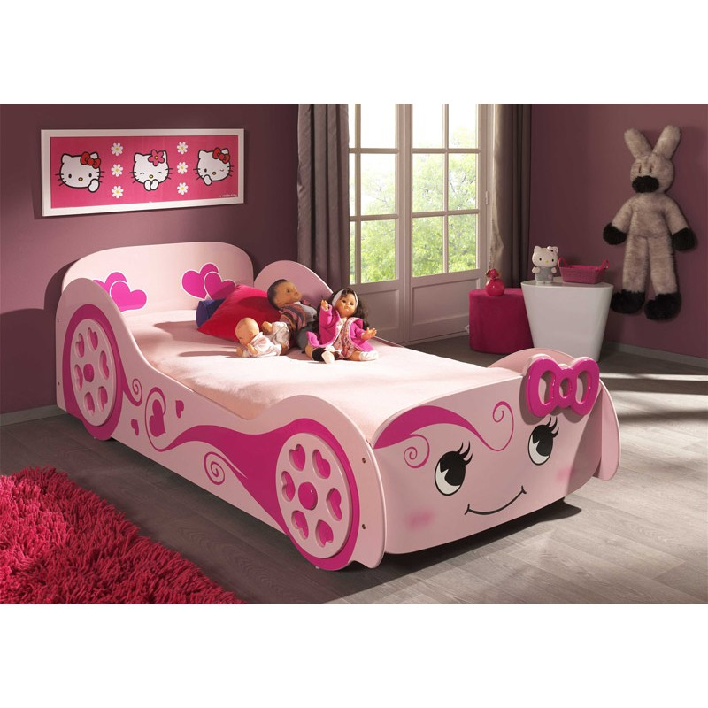 lit enfant voiture love rose. Black Bedroom Furniture Sets. Home Design Ideas