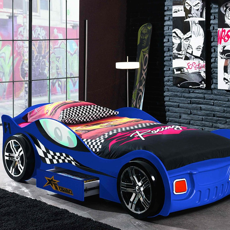 lit enfant voiture turbo bleu. Black Bedroom Furniture Sets. Home Design Ideas