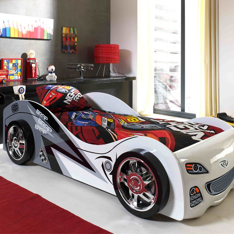 lit enfant voiture brap blanc. Black Bedroom Furniture Sets. Home Design Ideas