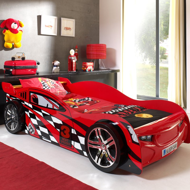 lit enfant voiture night speeder rouge