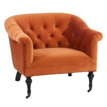 "Fauteuil Chesterfield en Velours ""Anton"" 83cm Orange"