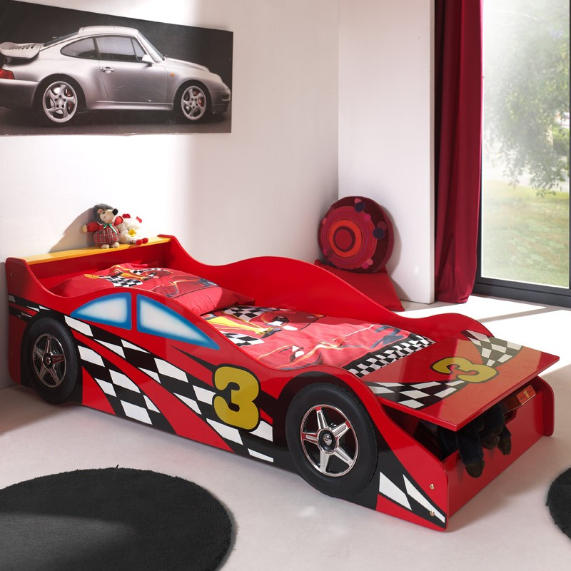 lit enfant voiture race rouge. Black Bedroom Furniture Sets. Home Design Ideas