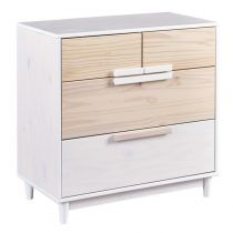 "Commode 4 Tiroirs ""Sophie"" 86cm Naturel & Blanc"