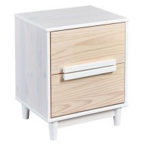 "Table de Chevet ""Sophie"" 58cm Naturel & Blanc"