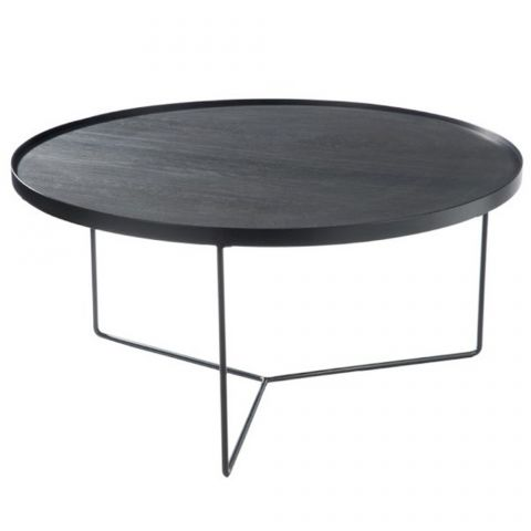 "Table Basse Ronde Design ""Malo"" 80cm Noir"