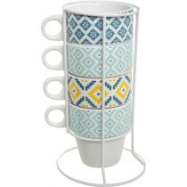 "Lot de 4 Mugs Sur Rack ""Tikal"" 12cm Multicolore"
