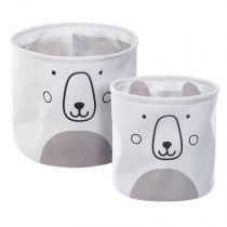 "Lot de 2 Paniers de Rangement ""Ourson"" 30cm Blanc"
